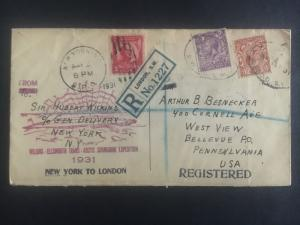 1931 London England Cover to USA Hubert Wilkins North Pole Expedition Submarine