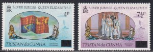 Tristan Da Cunha # 220-221, Surcharged Stamps, NH, 1/2 Cat.