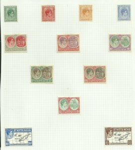 St Kitts & Nevis, Set of 12, Hinged to page, Sg 68A-77F M/Mint {C/P-1}
