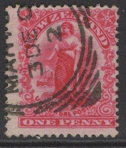 NEW ZEALAND SG360 1906 1d BRIGHT ROSE-CARMINE p14x14½ USED