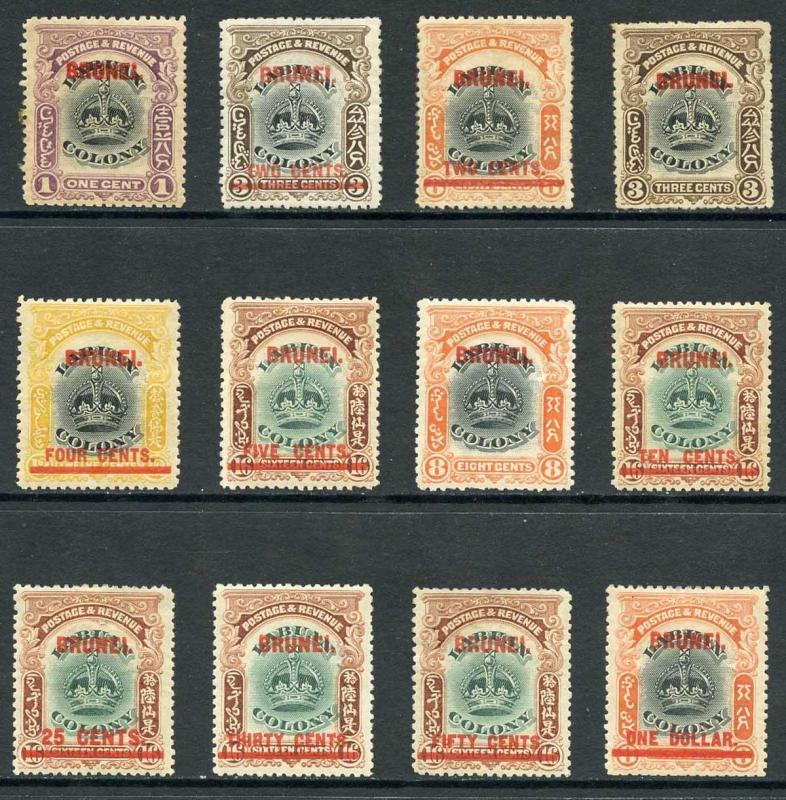 Brunei SG11/22 1906 Labuan overprints Set of 12 M/Mint (hinge remainder)