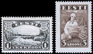 Estonia Scott 112, 116 (1933, 1935) Mint NH/H VF, CV $15.80