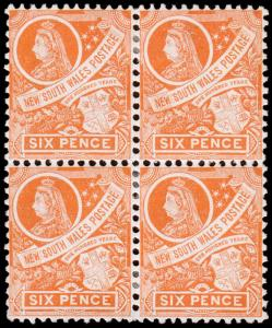 New South Wales Scott 114 Block of 4 (1905) Mint H F-VF, CV $116.00 M