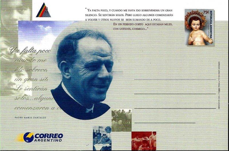 PS-125 ARGENTINA 1999 P STATIONARY RELIGION PADRE MARIO UNUSED