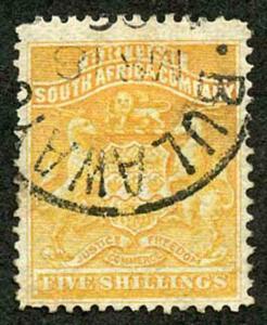 Rhodesia SG8 5/- Orange-yellow CDS used