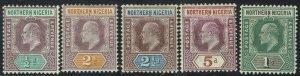 NORTHERN NIGERIA 1902 KEVII RANGE TO 1/- WMK CROWN CA