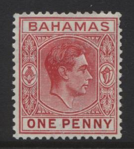 BAHAMAS- Scott 101 - KGVI Definitive -1938 - MLH - Carmine - Single 1d Stamp1