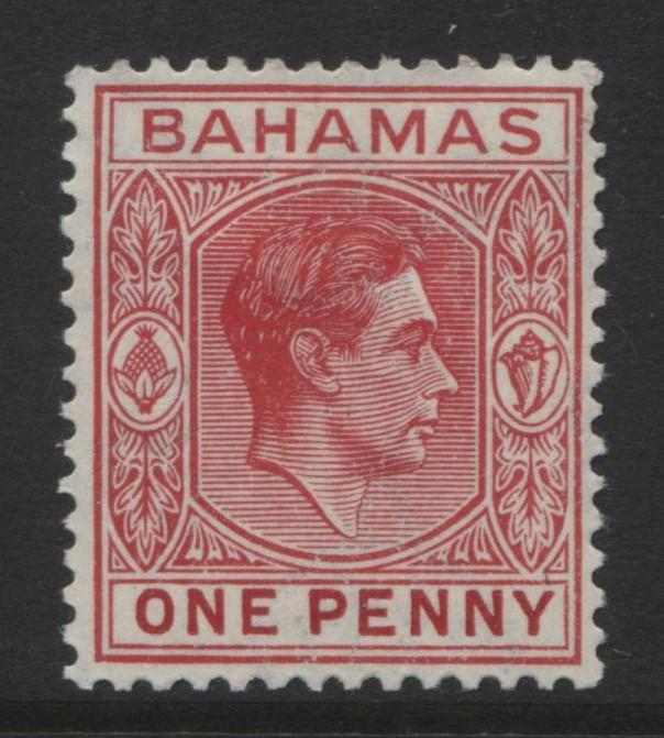 BAHAMAS- Scott 101 - KGVI Definitive -1938 - MLH - Carmine - Single 1d Stamp1