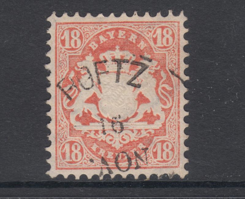Bavaria Sc 30a used 1870 18kr dull brick red Coat of Arms, sound & VF