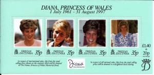 Tristan da Cunha 1998 - Princess Diana of Wales 4 Stamp Sheet 20L-002