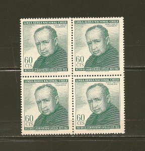 Chile C258 Airmail Block of 4 MNH