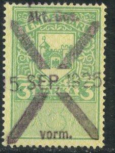 ESTONIA REVENUES 1924 3m Green General Duty Issue BFT. 266 VFU