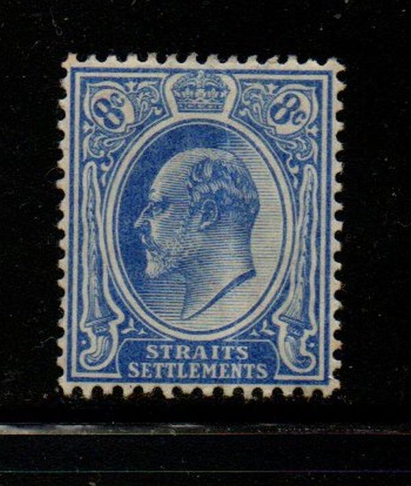 Straits Settlements Sc 134 1906 8 c ultra Edward VII stamp mint