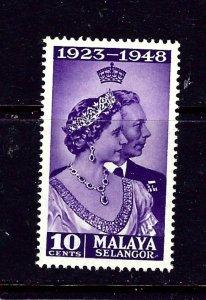 Malaya-Selangor 74 MNH 1948 KGVI Silver Wedding Low Value