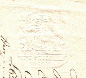 Ireland Embossed REVENUES *Knocknabricky* Receipt 1825{samwells-covers}BD211