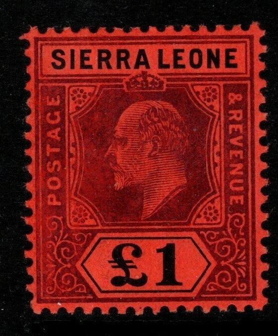 SIERRA LEONE SG111 1911 £1 PURPLE & BLACK ON RED MTD MINT