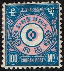 KOREA STAMP  1884 Seoul City Post 100 MOON  BLUE PINK MH/OG $50 FAULT