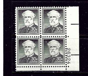 U.S. 1049 MNH 1958 Robert E Lee Plate Block