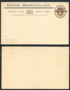 British Bechuanaland O/P on Cape of Good Hope QV 1d Brown Foreign Reply Card Min
