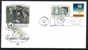 UNITED NATIONS SC#126 & US #1246 7c. Regular Postage. Artcraft (1964) FDC