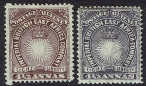 BRITISH EAST AFRICA 1890 LIGHT AND LIBERTY 41/2A BOTH SHADES