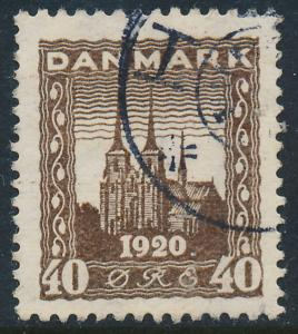 Denmark Scott 158 (AFA 114), 40ø brown Re-Unification, VF U