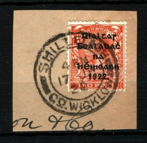 IRELAND 1922 Free State Overprints EIRE *Shillelagh Co.Wicklow* Postmark MS2263