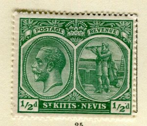 ST. KITTS; 1920-22 early GV portrait issue Mint hinged 1/2d. value