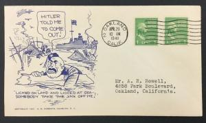 """World War II, Patriotic Cover, """"Licked on Land, Licked at Sea"""" 4/29/41."""