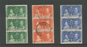 Kenya, Uganda & Tanganyika 1937 Coronation Set In Blocks of 3 Used SG 128/30
