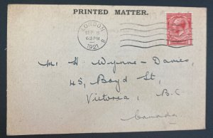 1921 London England Postcard Cover To Victoria Canada The Banner Of Israel