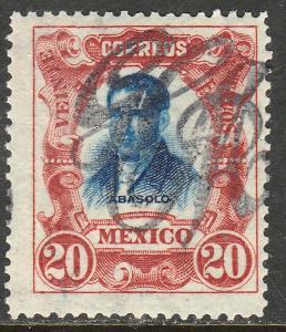 MEXICO 377, 20c LARGE MONOGRAM HANDSTAMP UNUSED, H OG. F-VF.(346)
