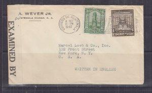 GUATEMALA,1942 censored cover, Guatemala City to USA, 1c. & 3c.