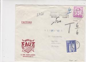 Belgium to Switzerland 1966 Mattress Advert Slogan To Pay Stamps Cover Ref 25290