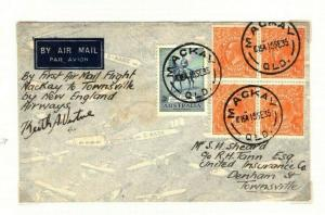 AUSTRALIA First Air Mail *Brisbane Townsville* Signed Block FRANKING 1934 PA1