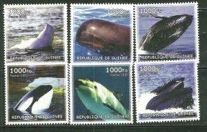 Guinea MNH Set Of 6 Whales Marine Life 2002