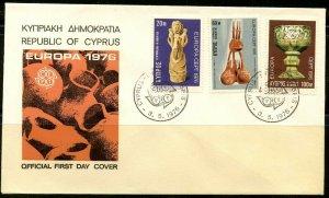 CYPRUS Sc#445-447 FDC 1976 Europa CEPT Complete Set VF