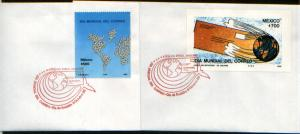 MEXICO 1564-65 Two FDCs World Post Day including Souvenir S