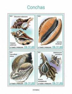 Sao Tome & Principe 2021 MNH Seashells Stamps Shells Marine Animals 4v M/S