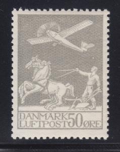 Denmark Sc C4 MNH. 1929 50o Airplane, Plowman & Horses, well centered