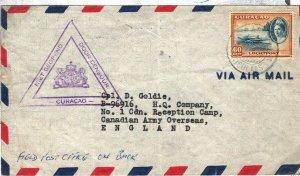 Dutch Cols WW2 CURACAO Aruba Cover GB CANADIAN ARMY Censor 1942{samwells} SQ11