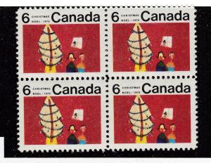 CANADA # 525i VF-MNH 6cts CHRISTMAS CENTER BLOCK OF 4 CAT VALUE $40+