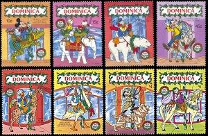 Dominica 1271-1278, MNH, Disney Christmas 1990 Carousel