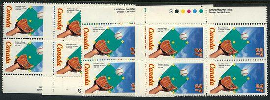 Canada - 1988 Baseball in Canada Imprint Blocks mint #1221
