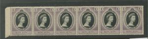 Hong Kong - Scott 184 - QEII - Coronation Issue-1953 -MNH -Strip of 6X10c Stamps