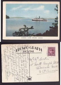 Canada #7448 -  3c KGVI war on post card with view side showing boat on Muskoka