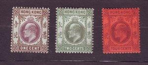 J23656 JLstamps 1903 hong kong mh #71-3 king wmk 2