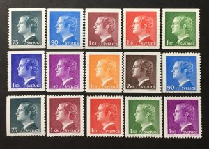 Sweden 1974-8 #1068-82, MNH, CV $7.95