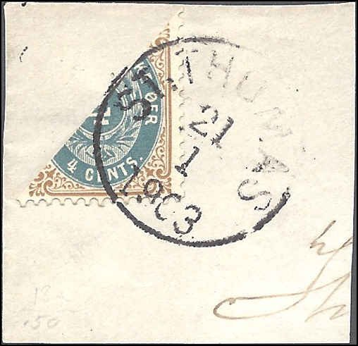 Danish West Indies 18a Used... Bisect Tied to Piece... SCV $100.00