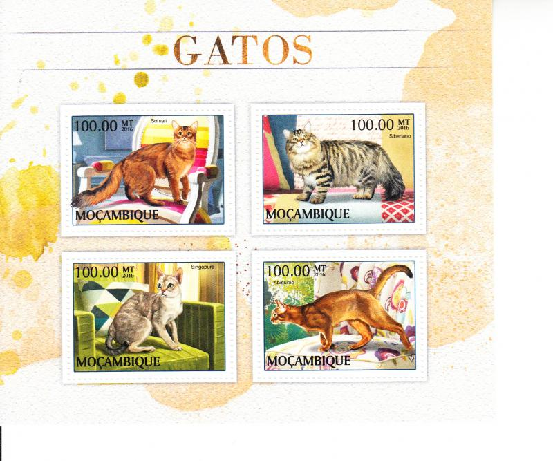 2016 Mozambique Cats MS4 (Scott NA) MNH